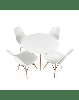 Comedor circular estilo Eames 120 cms + 6 Sillas Eames DSW blancas