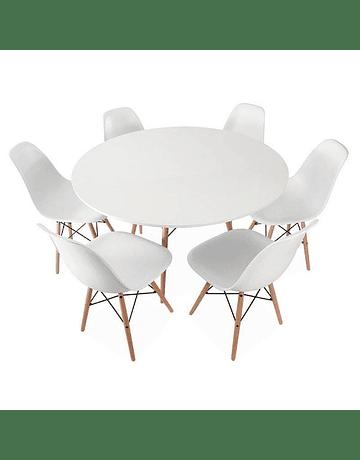 Mesa Eames DSW redonda en color blanco 120 cms