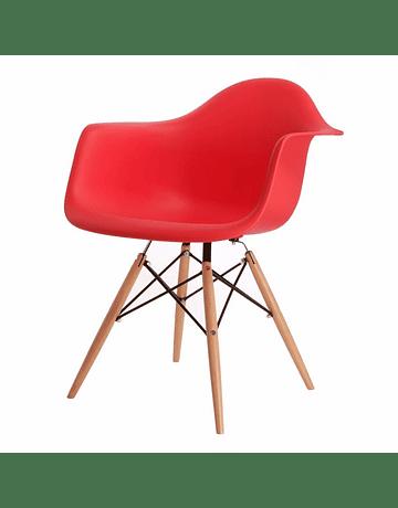Silla DAW Eames Rojo de Polipropileno virgen con patas de Haya