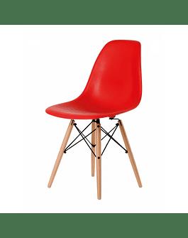Silla DSW Eames Rojo de Polipropileno virgen con patas de Haya