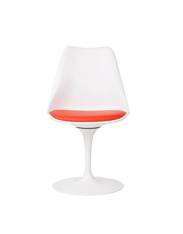 Silla modelo Tulip de Eero Saarinen en color Blanco* con cojín Rojo