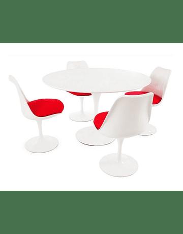 Silla Tulip de Eero Saarinen en color Blanco* con cojín Rojo