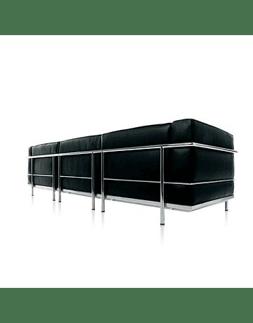 Sofá poltrona Tres cuerpos modelo LC2 Le Corbusier ecocuero Negro*