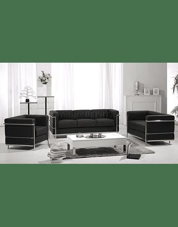 Sofá poltrona Tres cuerpos modelo LC2 Le Corbusier ecocuero Negro