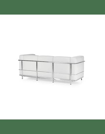 Sofá poltrona Tres cuerpos modelo LC2 Le Corbusier ecocuero Blanco