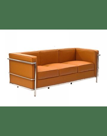 Sofá poltrona Tres cuerpos modelo LC2 Le Corbusier ecocuero Tan
