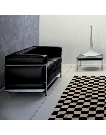 Sofá poltrona Dos cuerpos modelo LC2 Le Corbusier ecocuero Negro