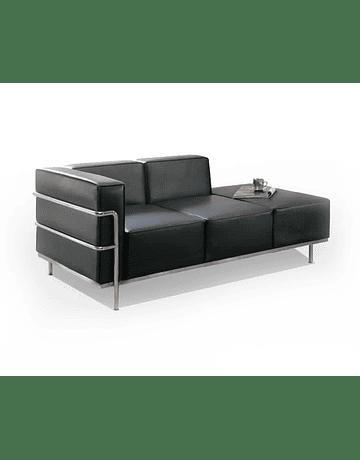 Sofá Lounge tres cuerpos modelo LC3 Le Corbusier Daybed ecocuero Negro