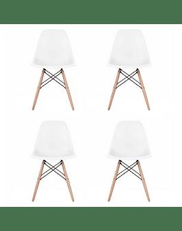 Pack 4 Sillas Eames DSW Blanca* de Polipropileno virgen con patas de Haya