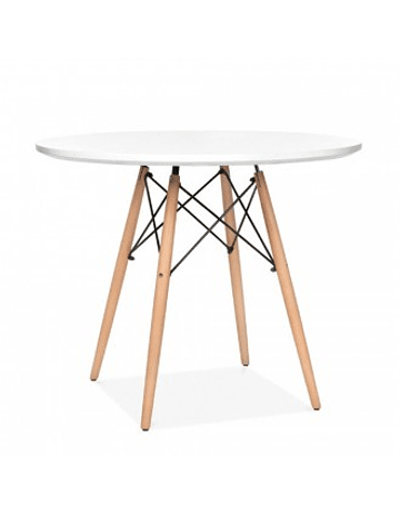 Mesa tipo Eames DSW redonda en color blanco negro 80 cms