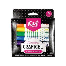 Marcadores Grafigel Kiut x 8 unidades