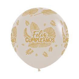 Globo R-24-Feliz Cumpleaños Hojas -Tropical-Arena