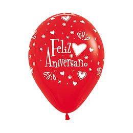 Globo R-12 Infinity Feliz Aniversario Amor Fashion Rojo x 12 Unidades