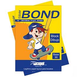 Block Papel Bond 1/4 115Gr