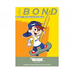 Block Papel Bond 1/4 90Gr