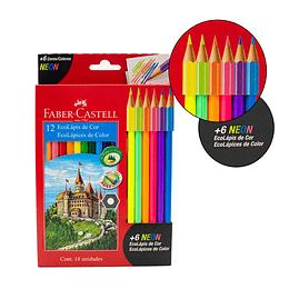 Colores Faber-Castell 12 + 6 Neón
