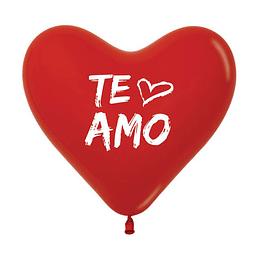 Globo Corazón Fashion Rojo Te Amo x 12
