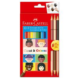 Colores Faber-Castell triangulares Caras y Colores 12+3