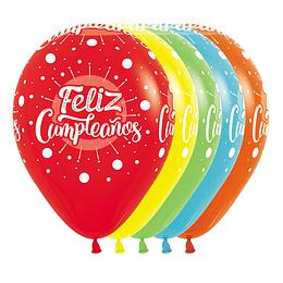 Globo R-12 Infinity Feliz Cumpleaños Multicolor Fashion Surtido X 12 unidades