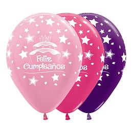 Globo R-12 Infinity Feliz Cumpleaños Torta Niñas Surtido x 12