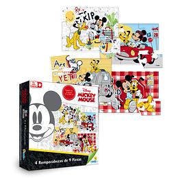 Rompecabezas 4x9 Piezas Mickey Mouse