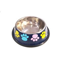 Tazón Para Mascotas Estampado Huellitas 22 Cms +Cotas Club