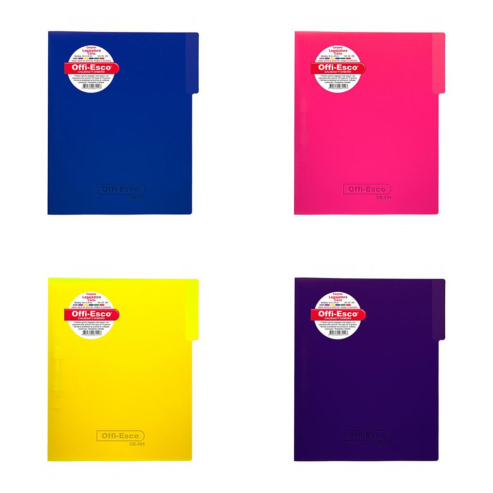 Carpeta Legajadora Plástica Carta Colores Translucidos