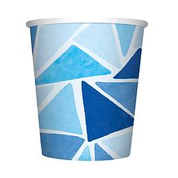 Vaso 9 Onza Triángulos Azules X 8 Unidades