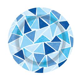 """Plato De Cartón 7""""Triangulos Azules X 8 Unidades"""