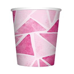 Vaso De Cartón 9 Onza Triángulos Rosados X 8 Unidades