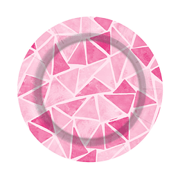 """Plato De Cartón 7""""Triangulos Rosados X 8 Unidades"""
