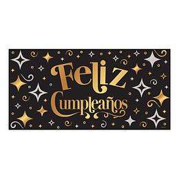 Cartel Plástico Feliz Cumpleaños Dorado Negro