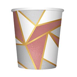 Vaso De Cartón 9 Onza Geométrico Deluxe X 8 Unidades