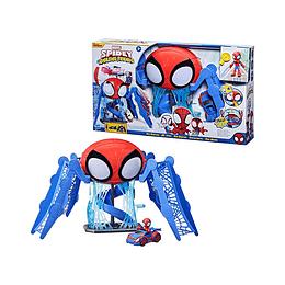 Marvel Spiderman Web-Quarters Playset Con Luces Sonidos Vehículo