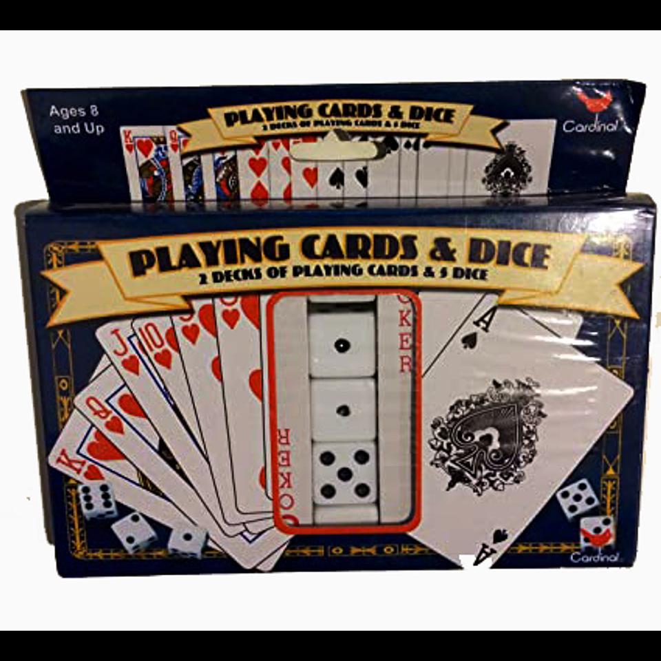Juego de Cartas X 2 C/5 dados en caja
