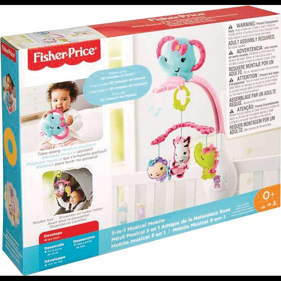 Fisher Price Móvil Para Bebés Rosado 3 En 1 Animalitos