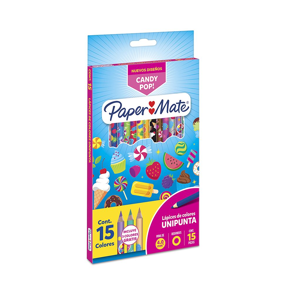 Papermate Colores Candy  Unipunta X 15