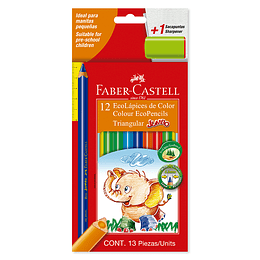 Colores Faber-Castell Jumbo Triangular Largos x 12 Unidades