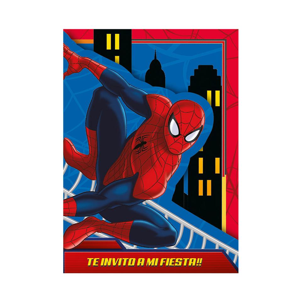 Invitación Con Sobre De Spiderman X 8 Unidades