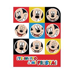 Invitacion Con Sobre De Mickey Face Tiem X 8 Unidades