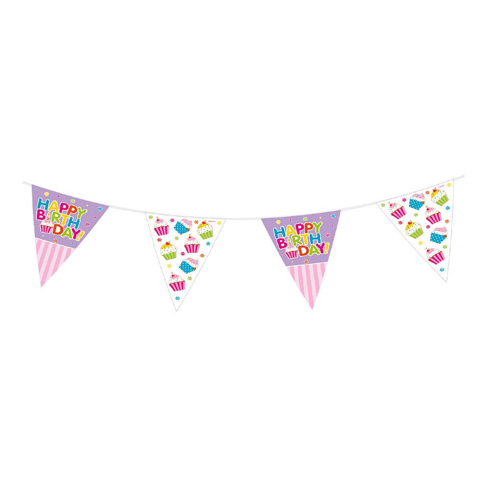 Banderola metalizada Feliz Cumpleaños Cupcakes