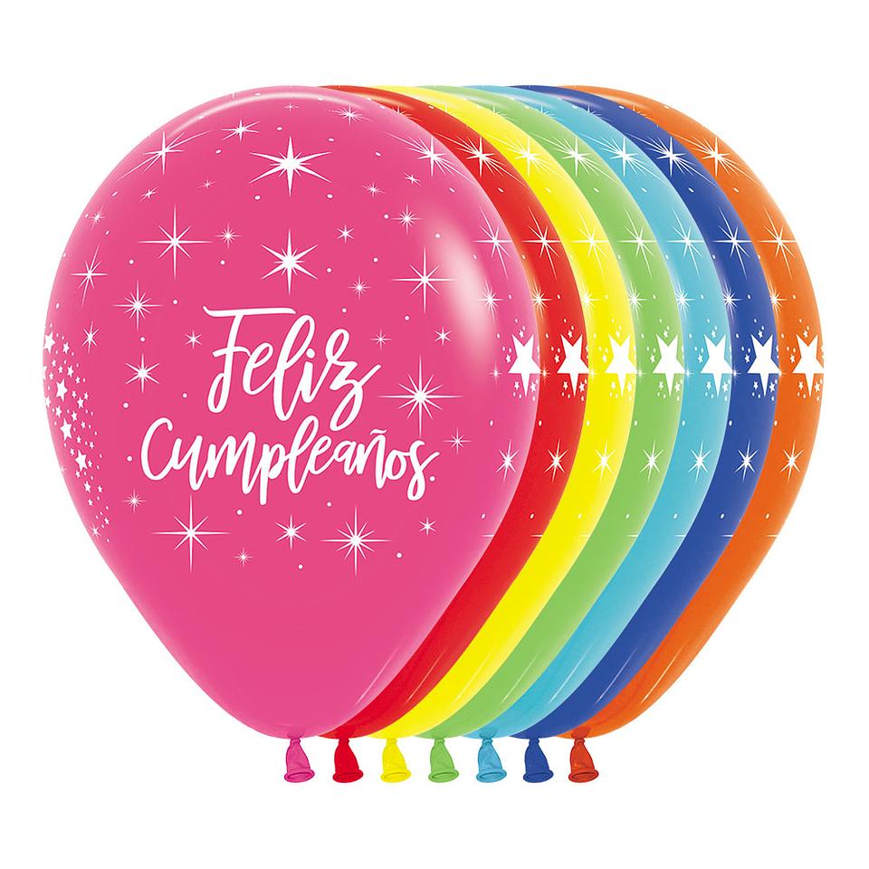 Globo R-12 Infinity Feliz Cumpleaños Radiante Fashion Surtido X 12 unidades