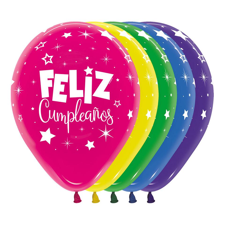 Globo R-12 Infinity Feliz Cumpleaños Fantasia Efecto Cristal Surtido