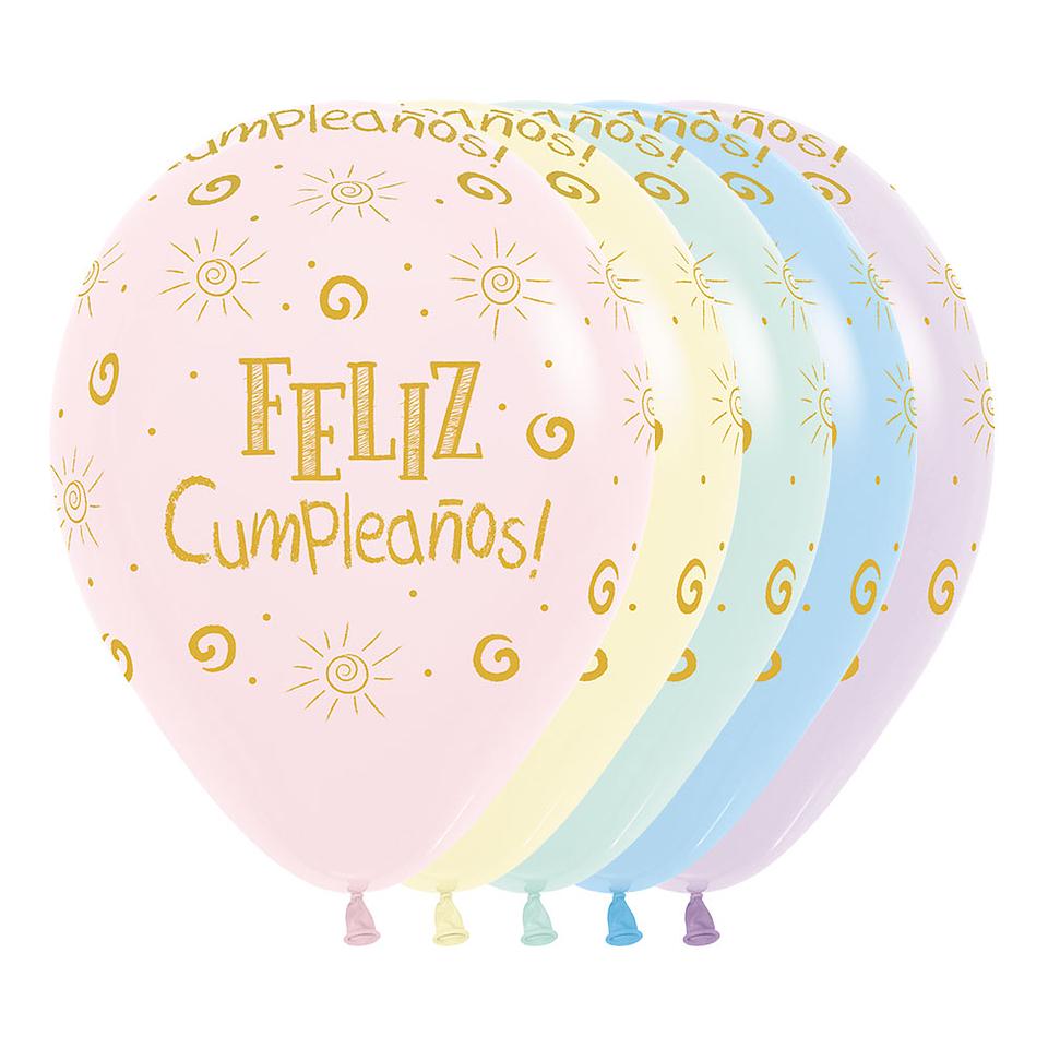 Globo R-12 Infinity Feliz Cumpleaños Rayito Sol Mate Surtido X 12 unidades
