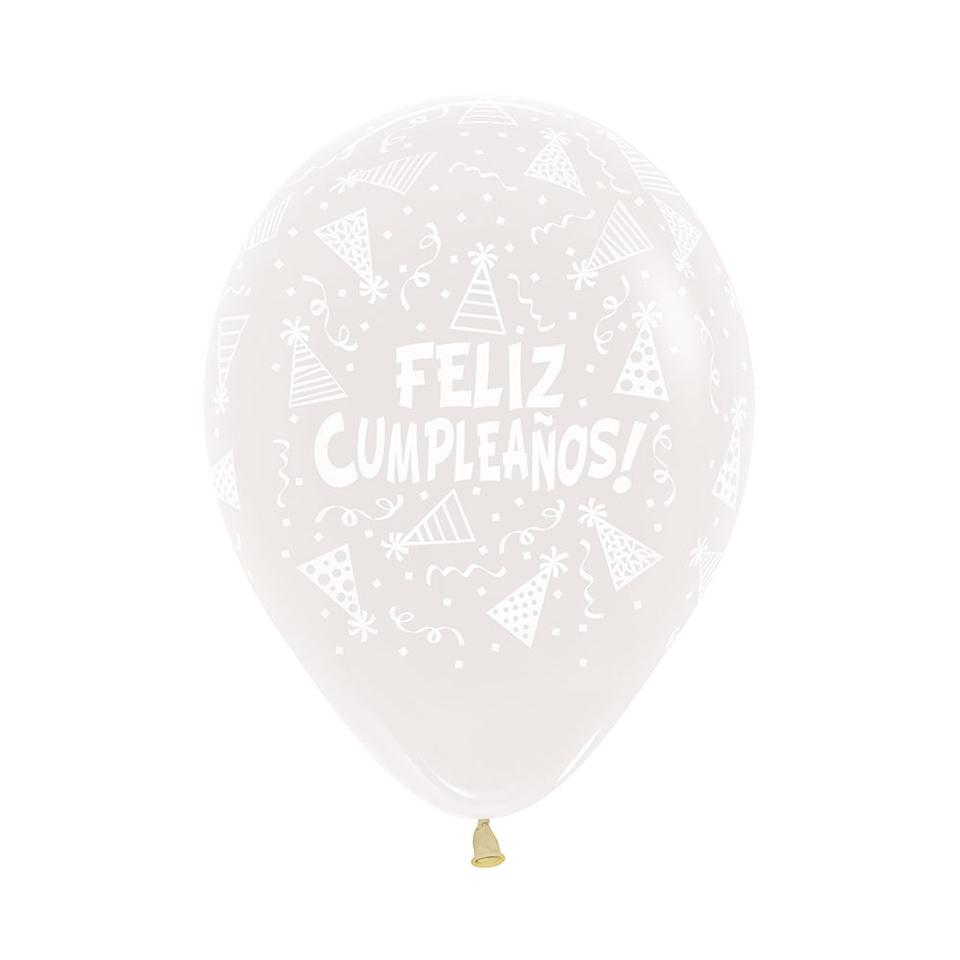 Globo R-12 Infinity Feliz Cumpleaños Gorritos Cristal Transparente X 12 unidades