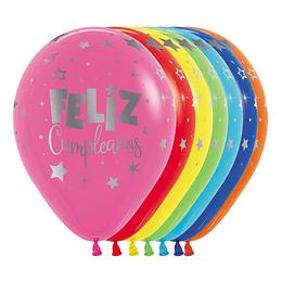 Globo R-12 Infinity Feliz Cumpleaños Fantasía Mink Fashion Surtido X 12 unidades