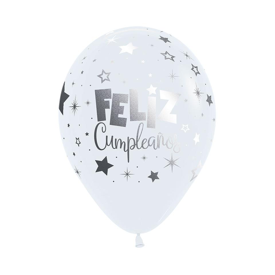 Globo R-12 M link Feliz Cumpleaños Fantasía Fashion blanco x 12 unidades