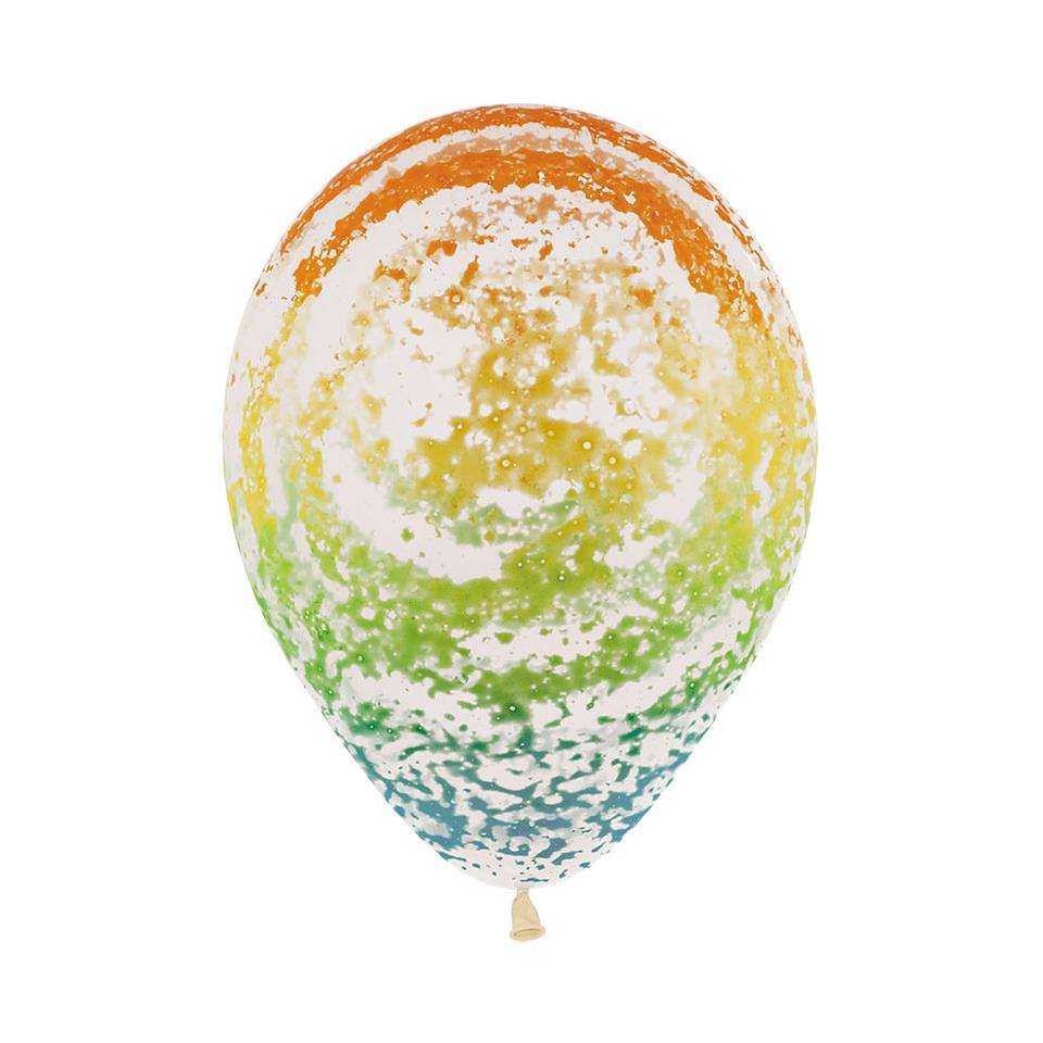 Globo R-12 Infinity graffiti arcoiris cristal transparente x 12