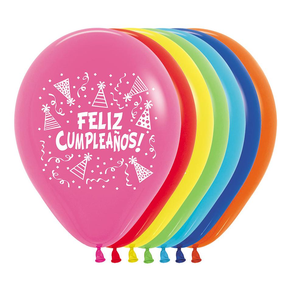 Globo R-12 impreso feliz cumpleaños gorritos Fashion surtido x 12 unidades