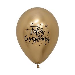 Globo R-12 feliz cumpleaños radiante reflex dorado x 12 unidades
